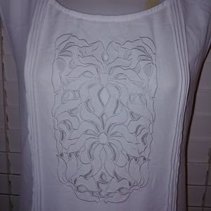 Ana sheer embroidery pleated top